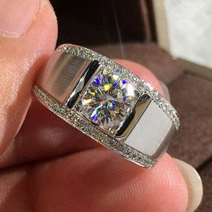 NEW Mens 925 Silver Round Diamond Wide Band Ring